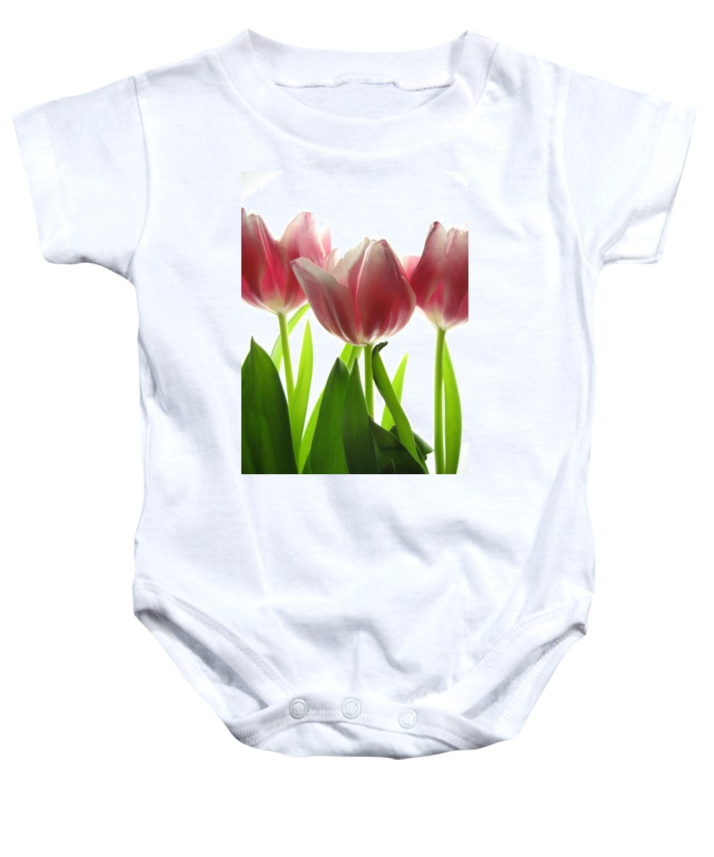 Tulip Baby Onesie featuring the photograph Pink Tulips by Jane Linders
