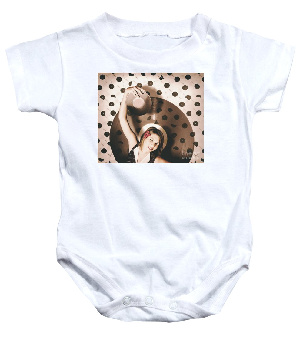 Disco Baby Onesie featuring the photograph Pinup Dj Rocking Around The Clock by Jorgo Photography - Wall Art Gallery