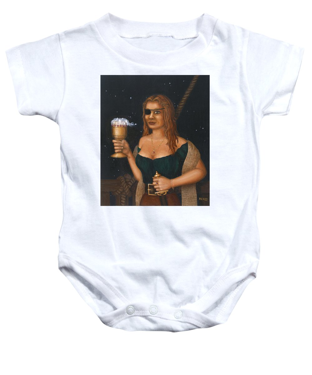 Fantasy Baby Onesie featuring the painting Pirate Queen by Roz Eve