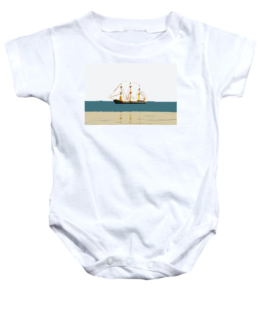 Pirate Ship Baby Onesie featuring the painting Pirate ship on the horizon by David Lee Thompson