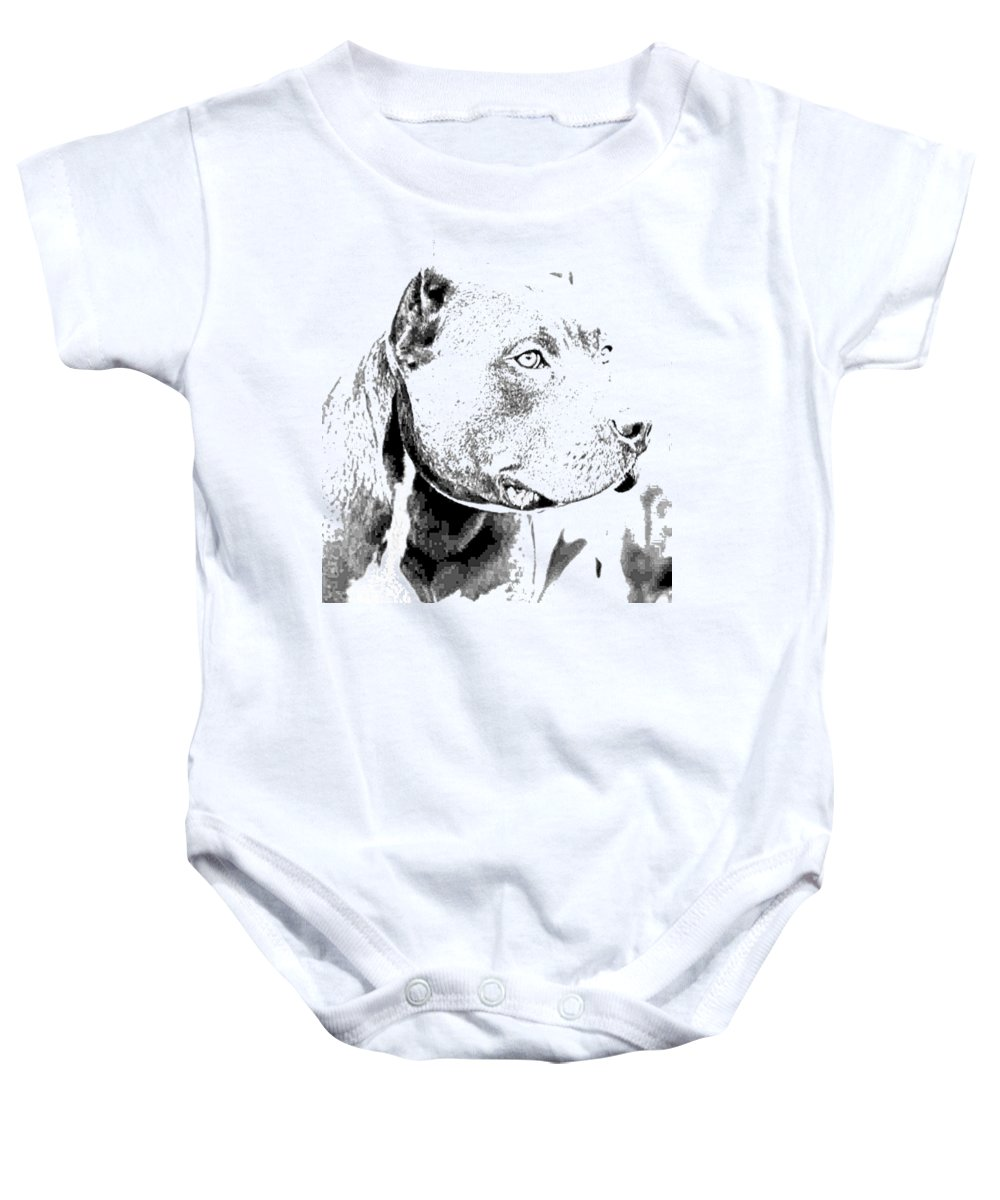 Baby Onesie featuring the digital art Pit Bull by Mg