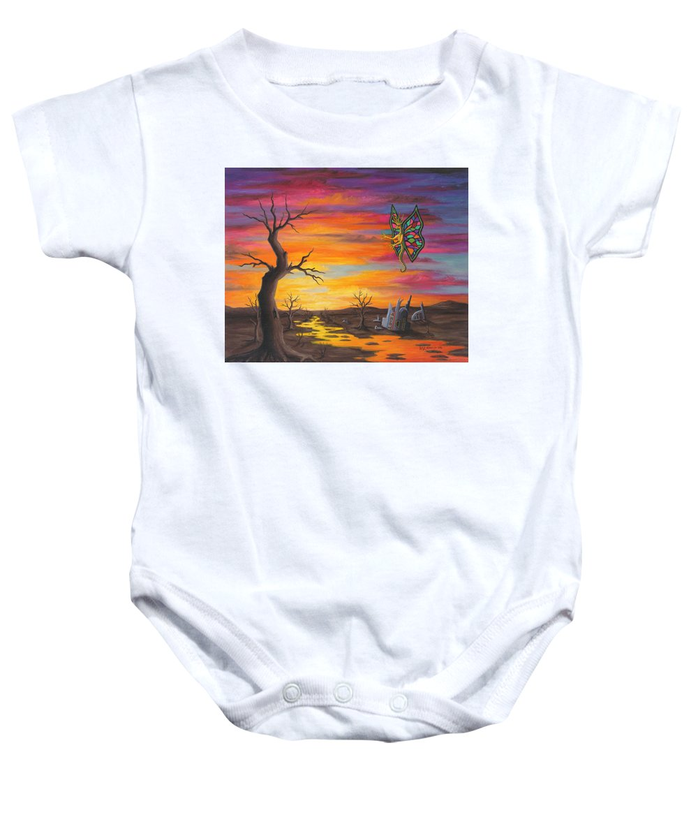 Fantasy Baby Onesie featuring the painting Planet Px7 by Roz Eve