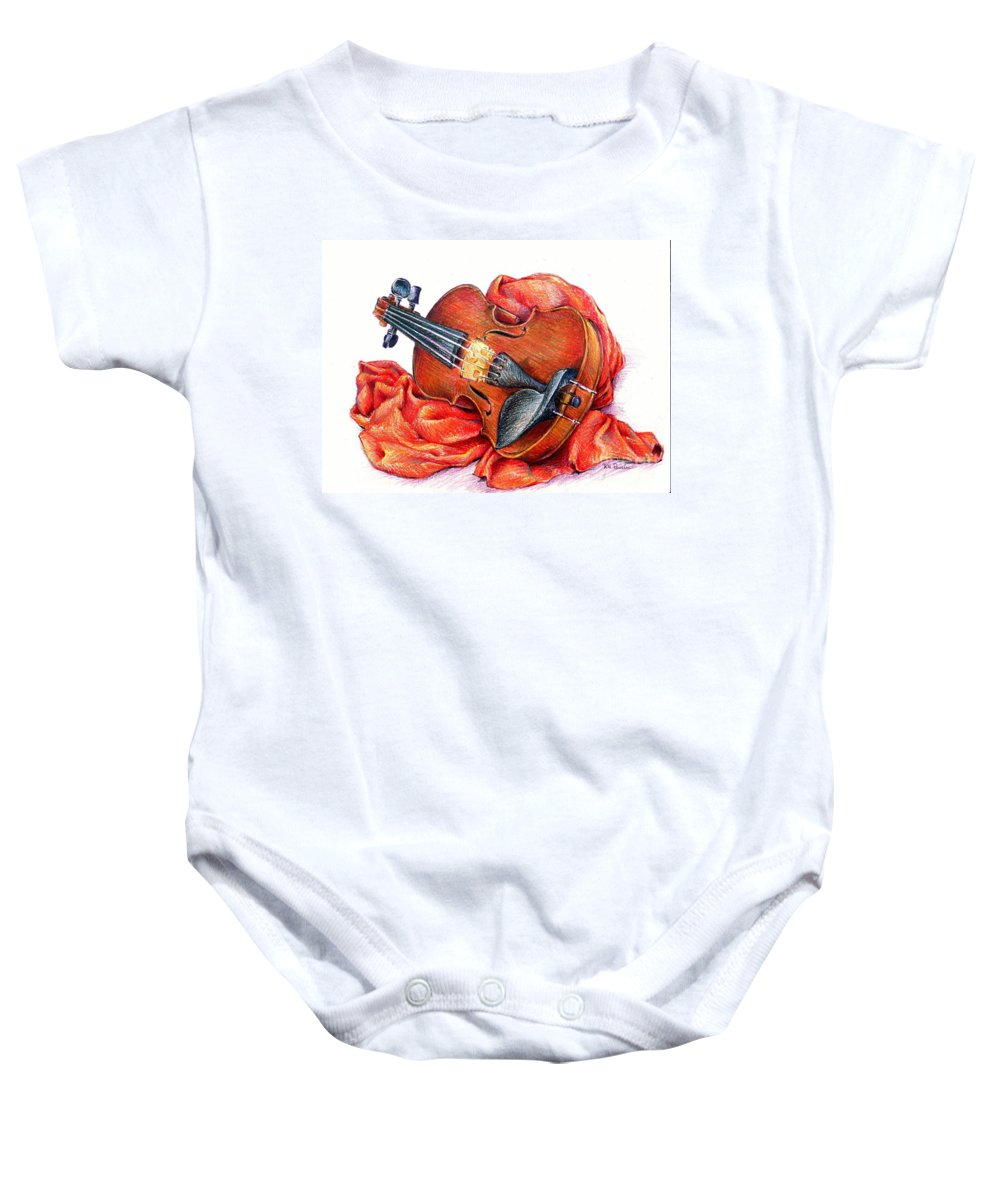 Violin Baby Onesie featuring the drawing Playing Around by K M Pawelec