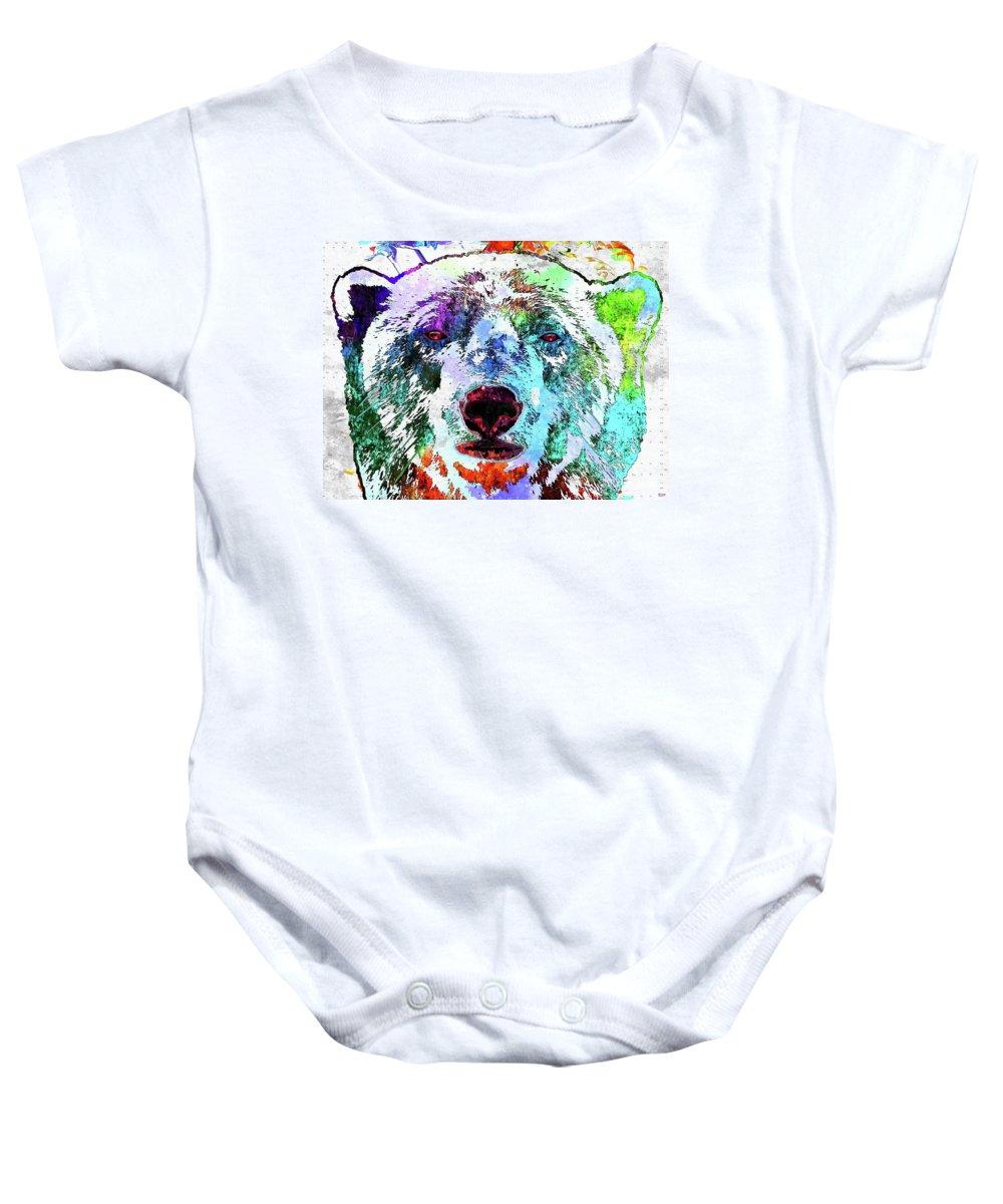 Polar Bear Colored Baby Onesie featuring the mixed media Polar Bear Colored Grunge by Daniel Janda