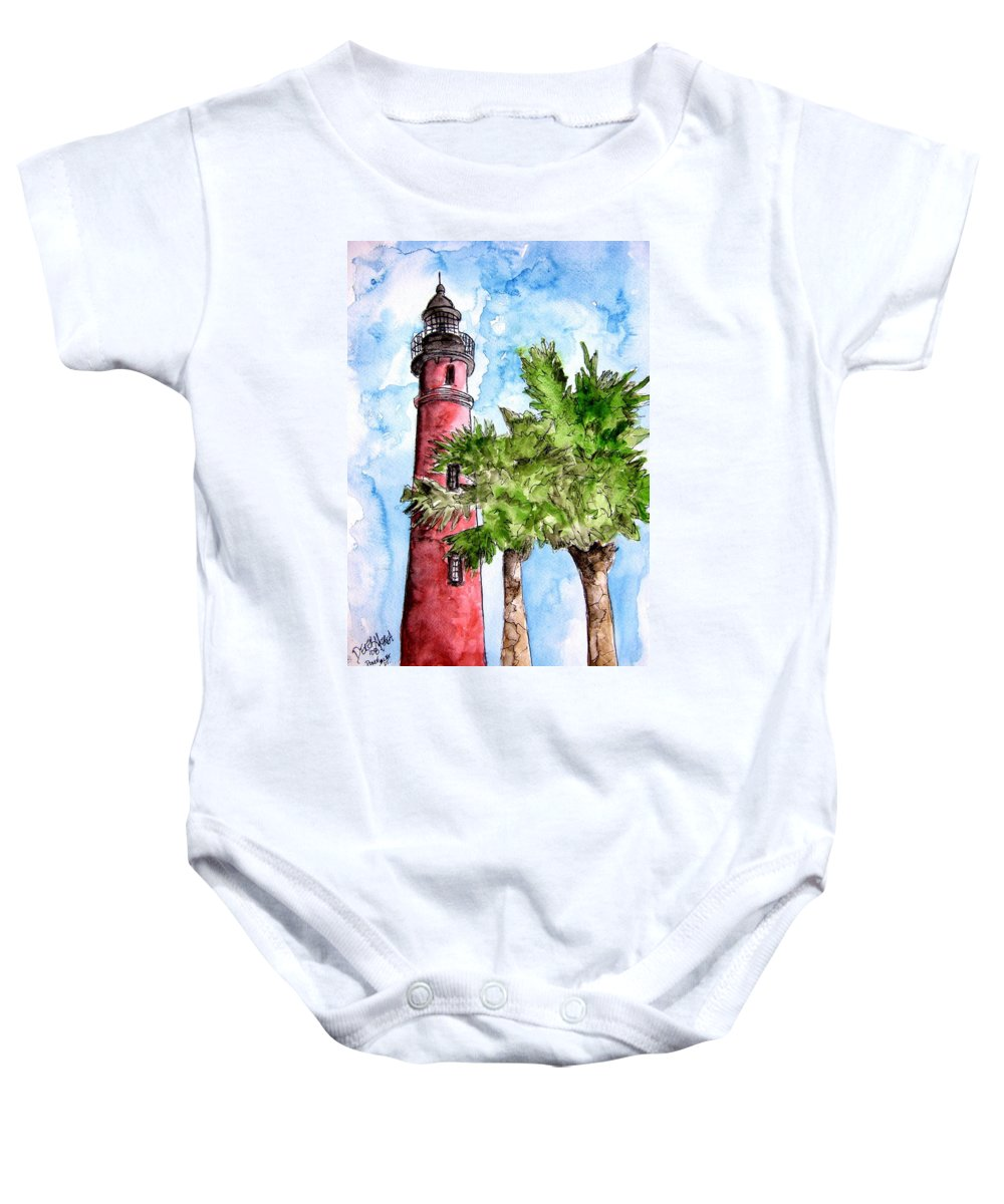 Ponce De Leon Baby Onesie featuring the painting Ponce De Leon Inlet Florida Lighthouse Art by Derek Mccrea