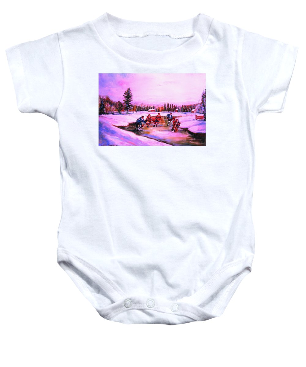 Hockey Baby Onesie featuring the painting Pond Hockey Warm Skies by Carole Spandau