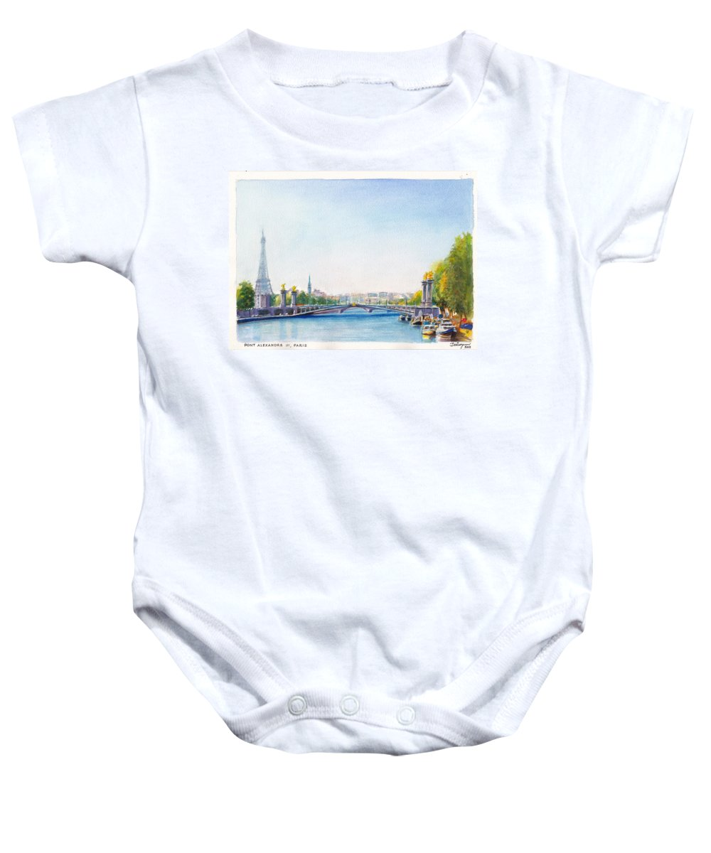 Paris Baby Onesie featuring the painting Pont Alexandre IIi Or Alexander The Third Bridge Over The River Seine In Paris France by Dai Wynn