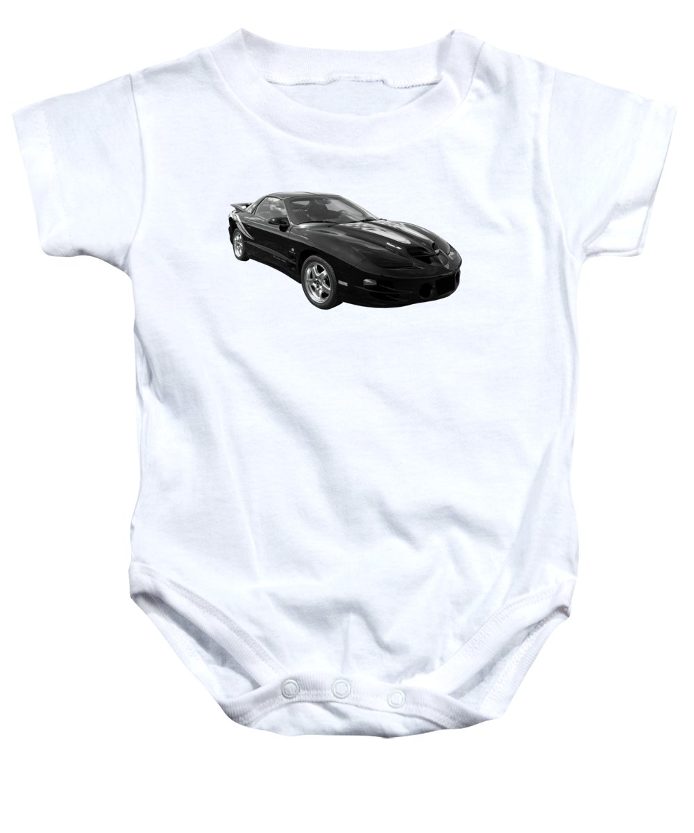 Pontiac Firebird Baby Onesie featuring the photograph Pontiac Trans Am Ram Air In Black And White by Gill Billington
