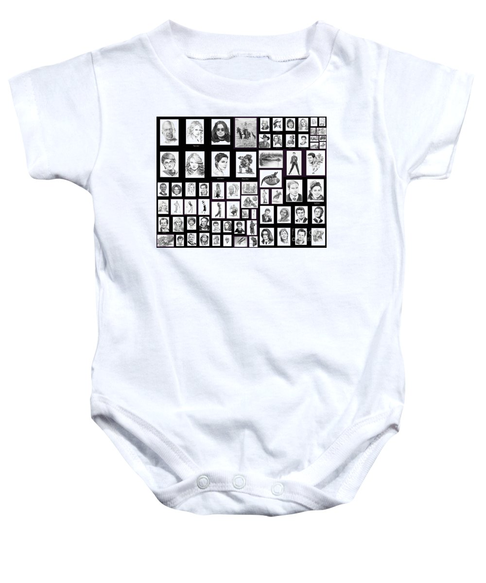 Portraits Baby Onesie featuring the drawing Portrait And Illustrations On Fine Art America by Murphy Elliott