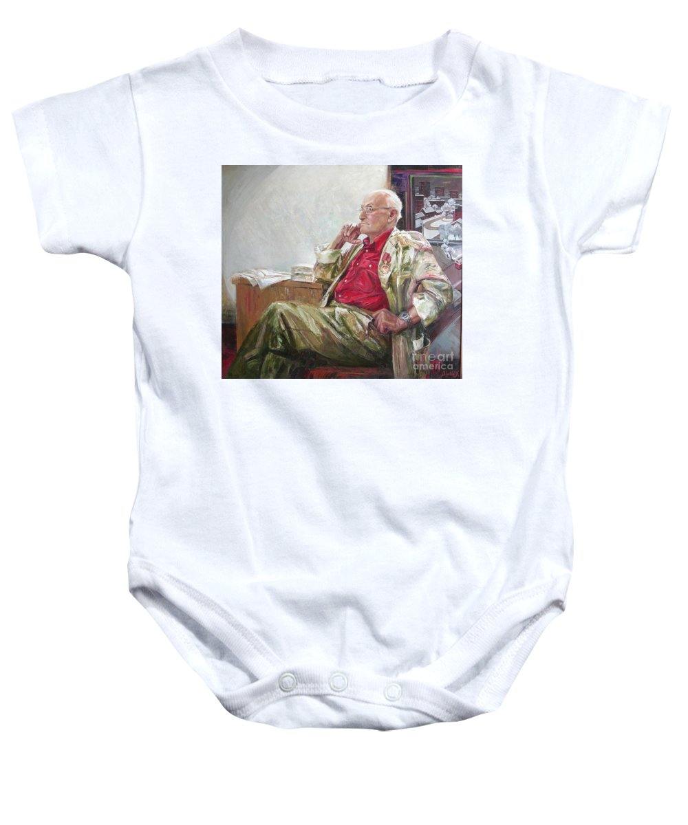 Oil Baby Onesie featuring the painting Portrait Of May Dancig by Sergey Ignatenko