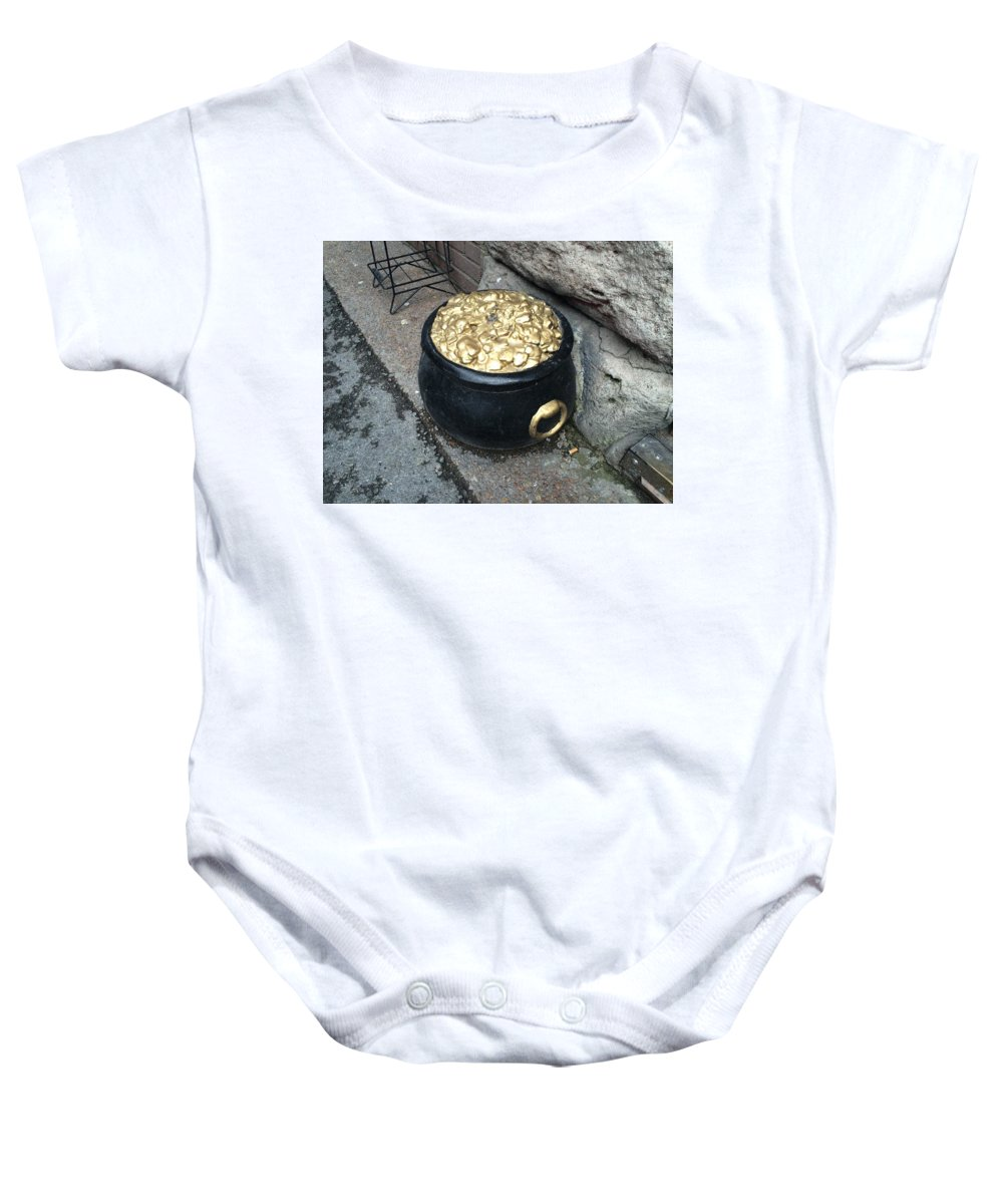 End Of The Rainbow Pot Of Gold Baby Onesie featuring the photograph Pot Of Gold At The Rainbow by Frank TuttPutt Tuttle