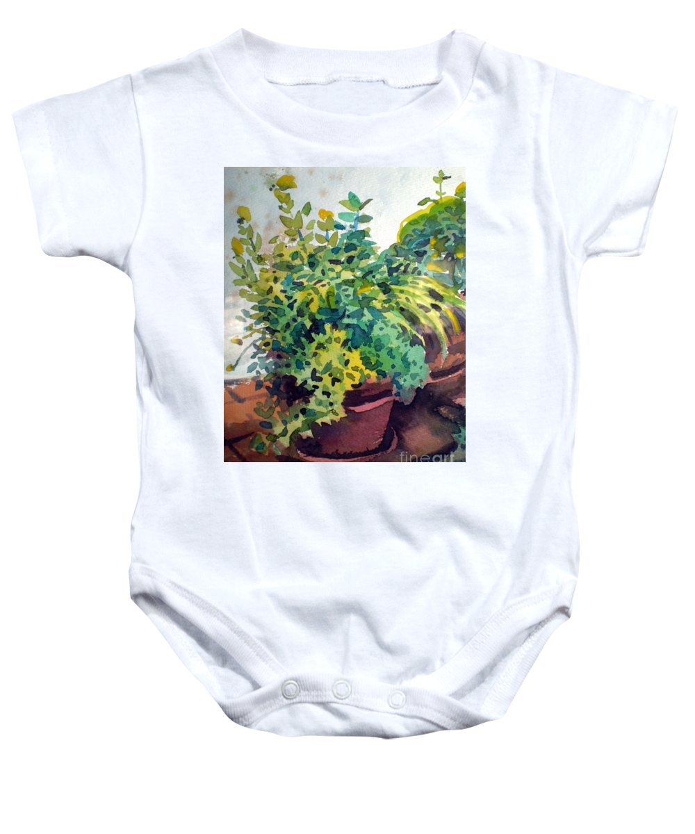 Herbs Baby Onesie featuring the painting Potted Herbs by Donald Maier