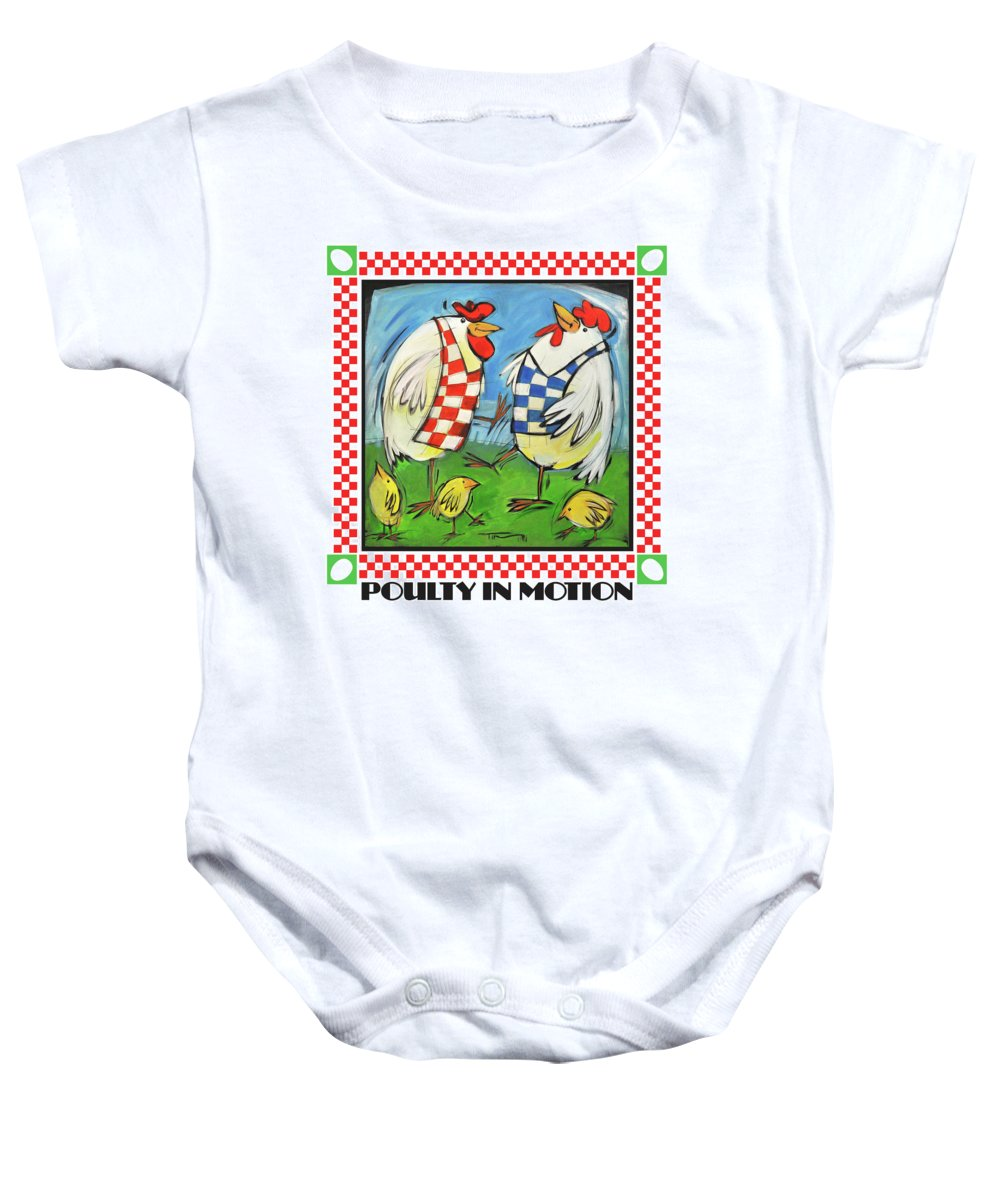 Chickens Baby Onesie featuring the painting Poultry In Motion Poster by Tim Nyberg