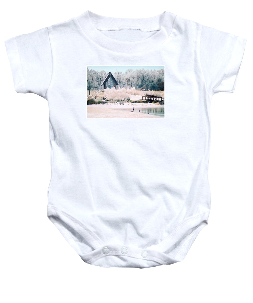 Landscape Baby Onesie featuring the photograph Powell Gardens Chapel by Steve Karol