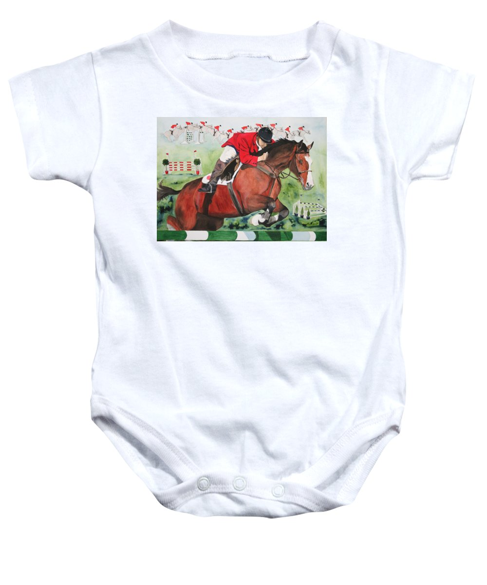 Horse Baby Onesie featuring the painting Practice Makes Perfect by Jean Blackmer