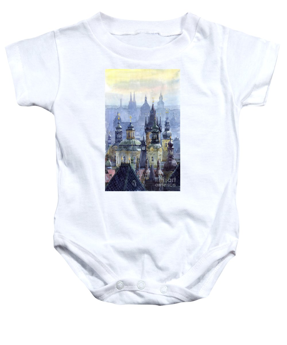 Architecture Baby Onesie featuring the painting Prague Towers by Yuriy Shevchuk