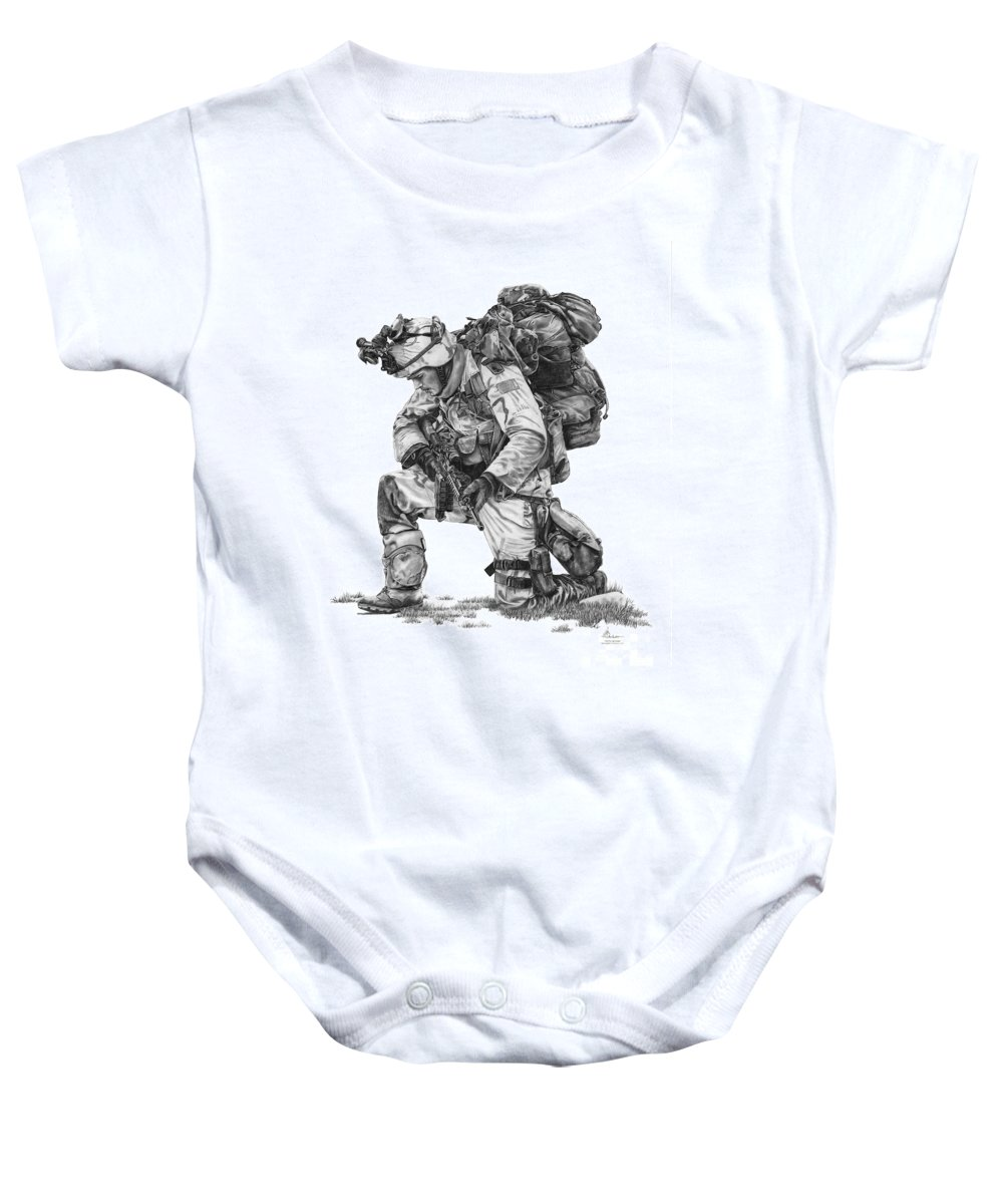 Pencil Baby Onesie featuring the drawing Praying Soldier by Murphy Elliott
