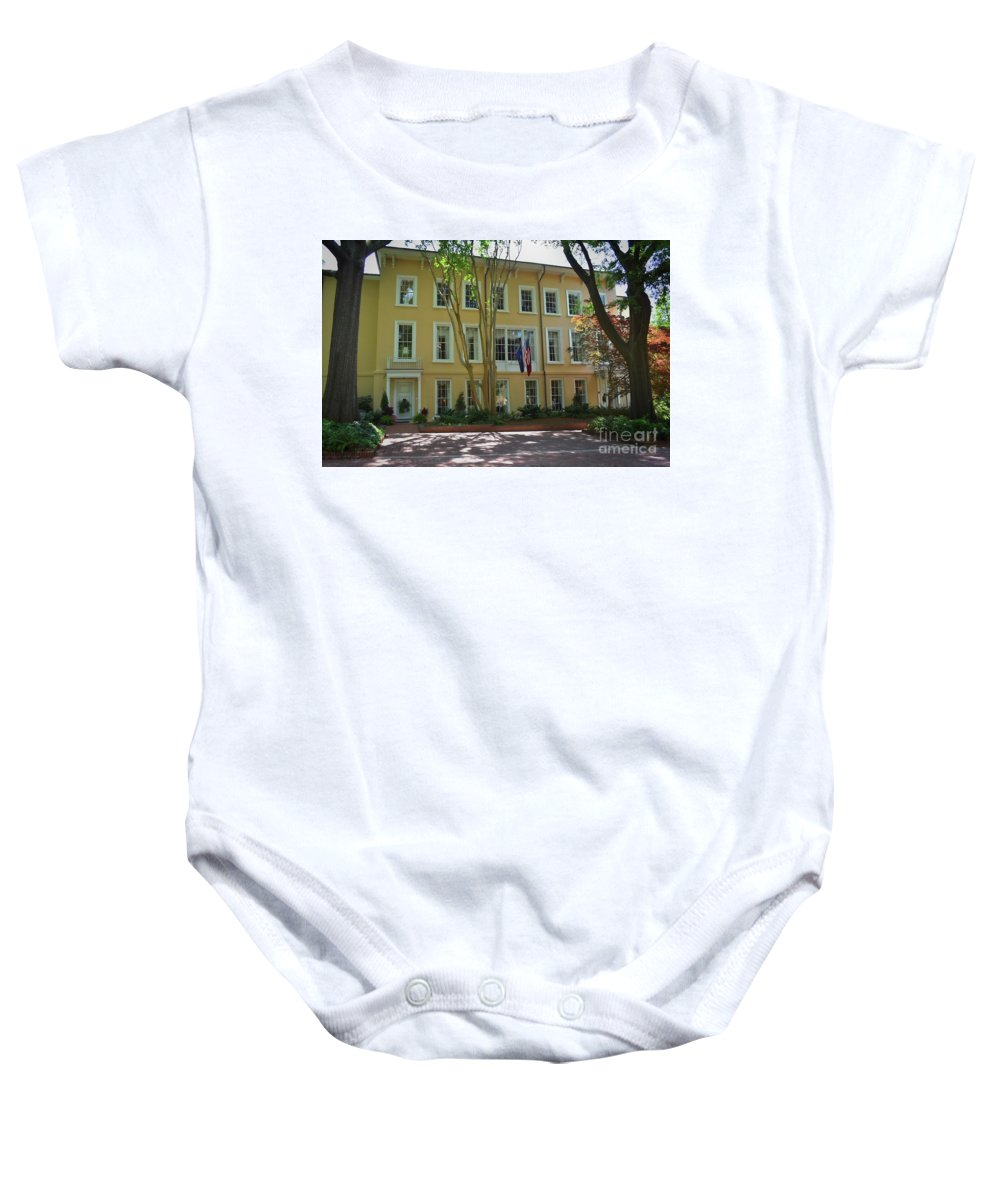 Scenic Tours Baby Onesie featuring the photograph President's Residence University Of South Carolina by Skip Willits
