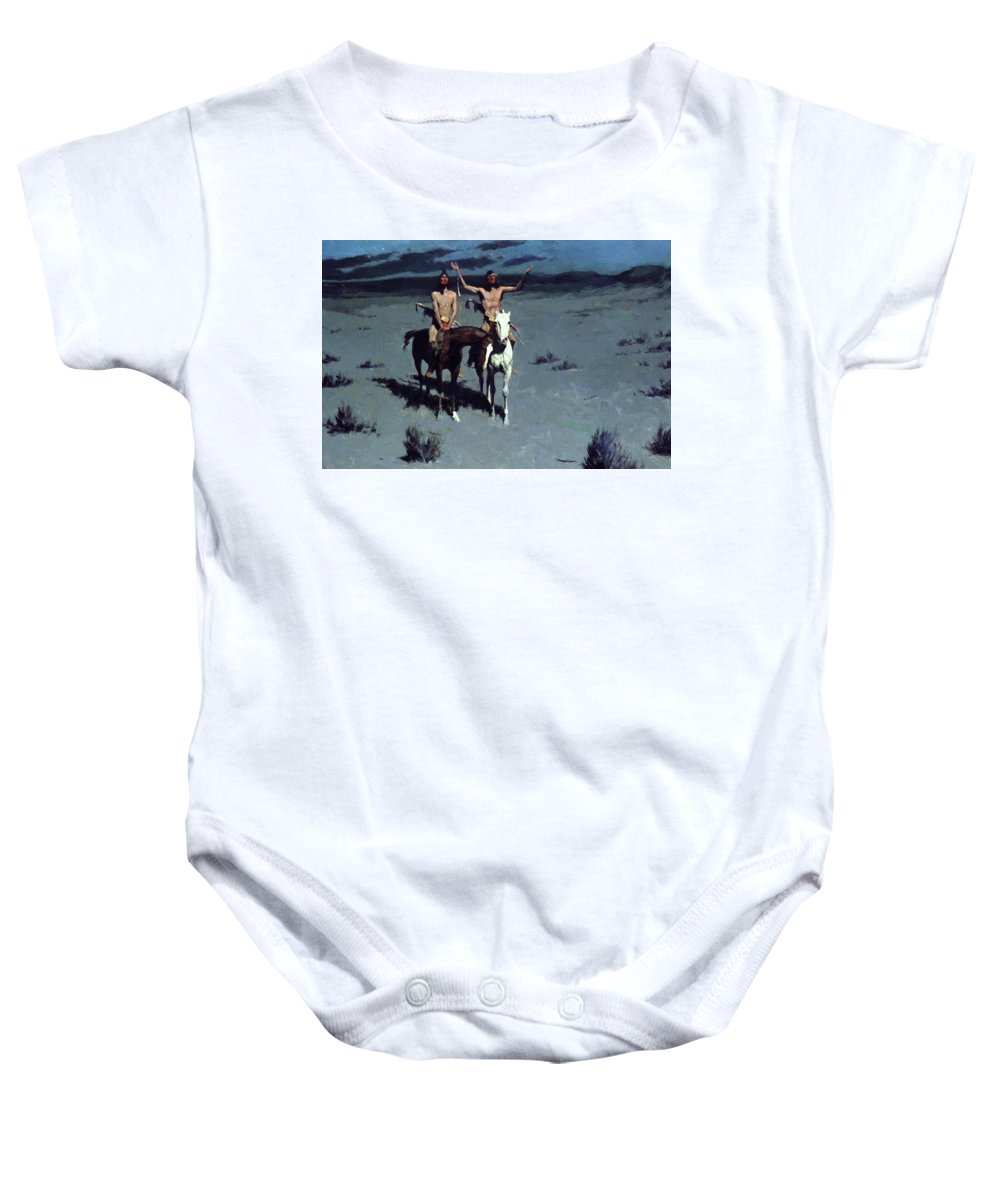 Pretty Baby Onesie featuring the painting Pretty Mother Of The Night White Otter Is No Longer A Boy 1900 by Remington Frederic