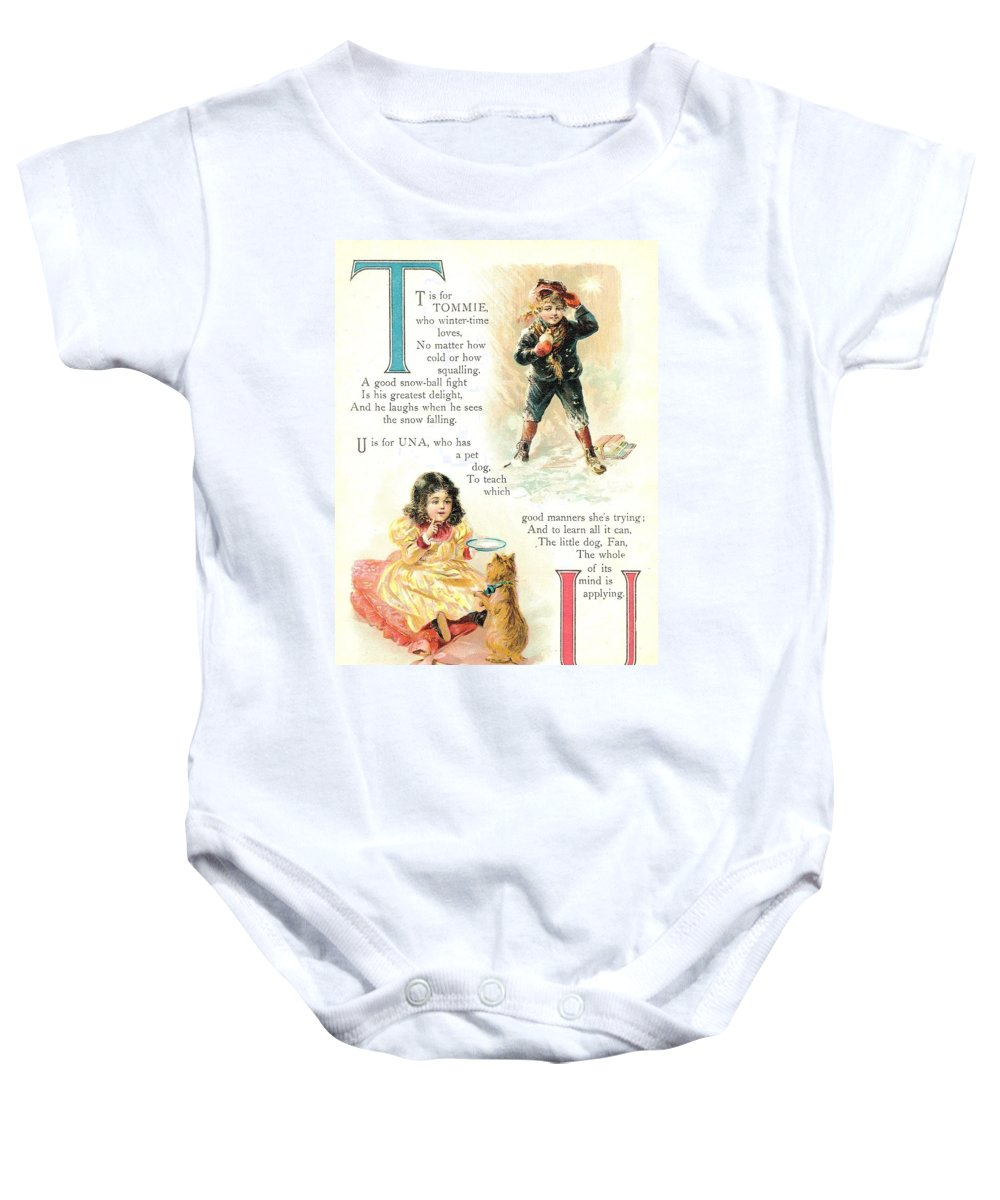 The Wurtherington Diary Baby Onesie featuring the painting Pretty Name Abc T And U by Reynold Jay