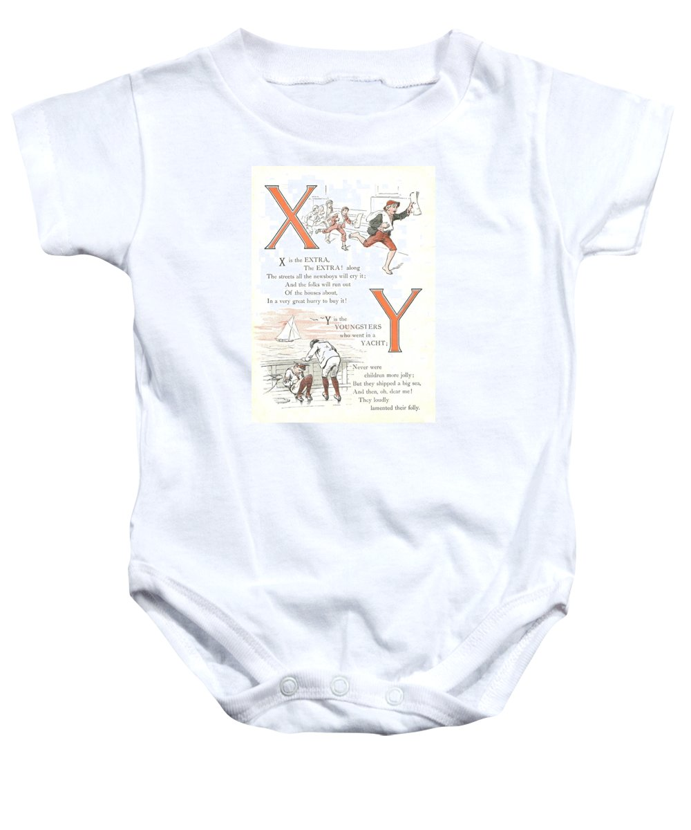 The Wurtherington Diary Baby Onesie featuring the painting Pretty Name Abc X And Y by Reynold Jay