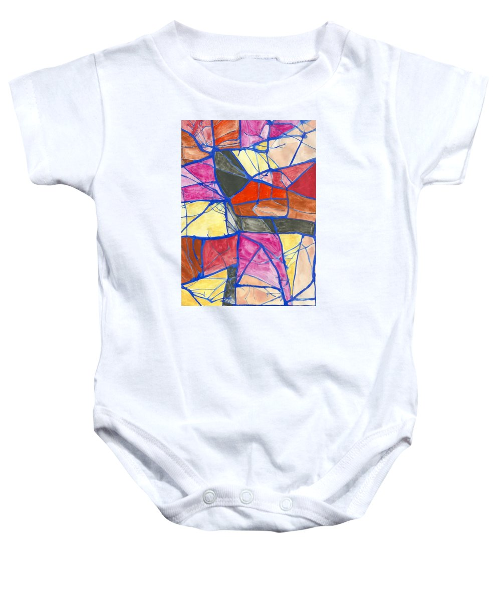 Abstract Watercolor Primavera Spring Baby Onesie featuring the painting Primavera - Spring by Ivonne Sequera