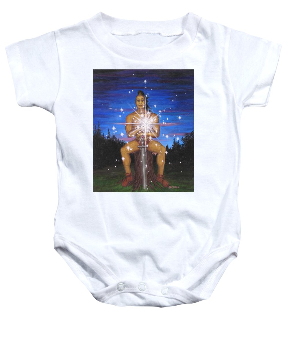 Fantasy Baby Onesie featuring the painting Protector Of The Mystical Forest by Roz Eve