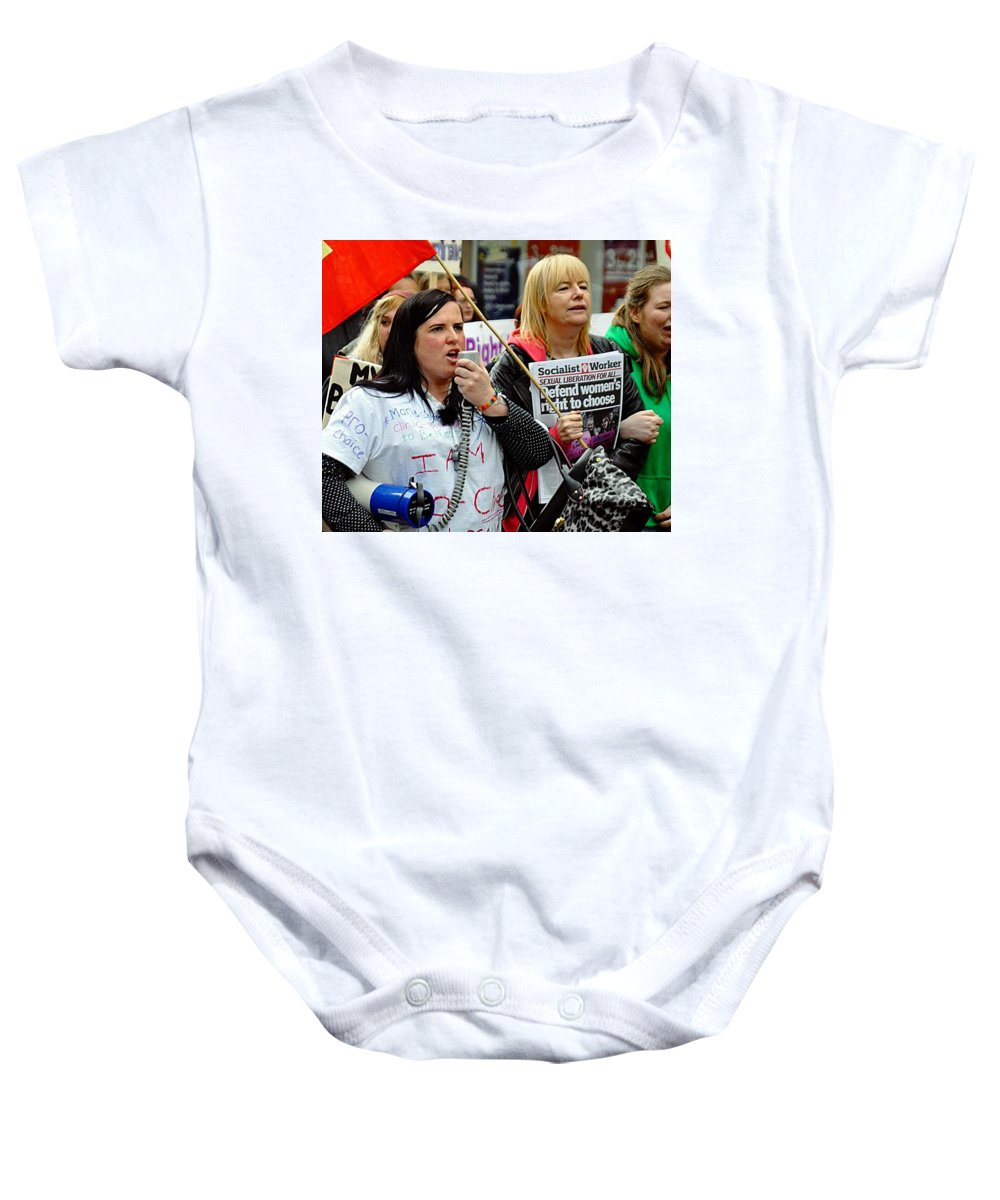 Women Baby Onesie featuring the photograph Protest Rally by John Hughes