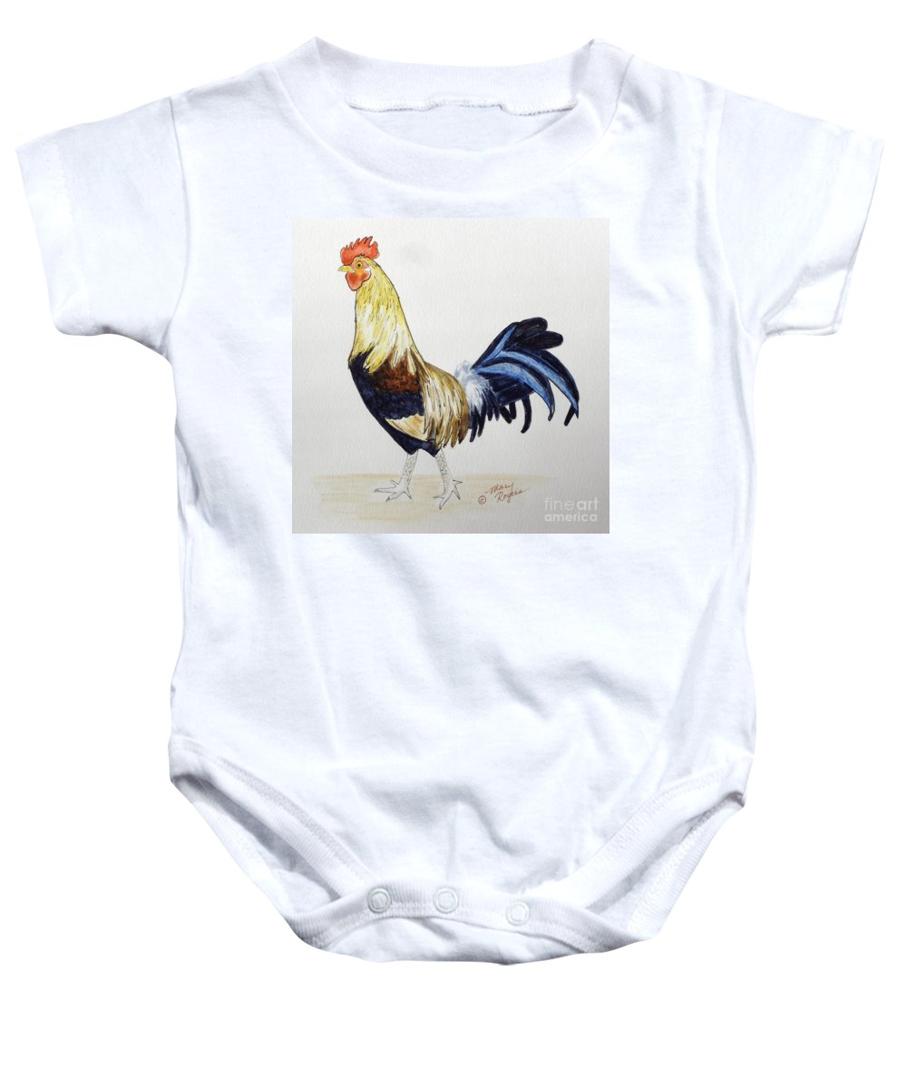 Rooster Baby Onesie featuring the mixed media Proud Rooster by Mary Rogers