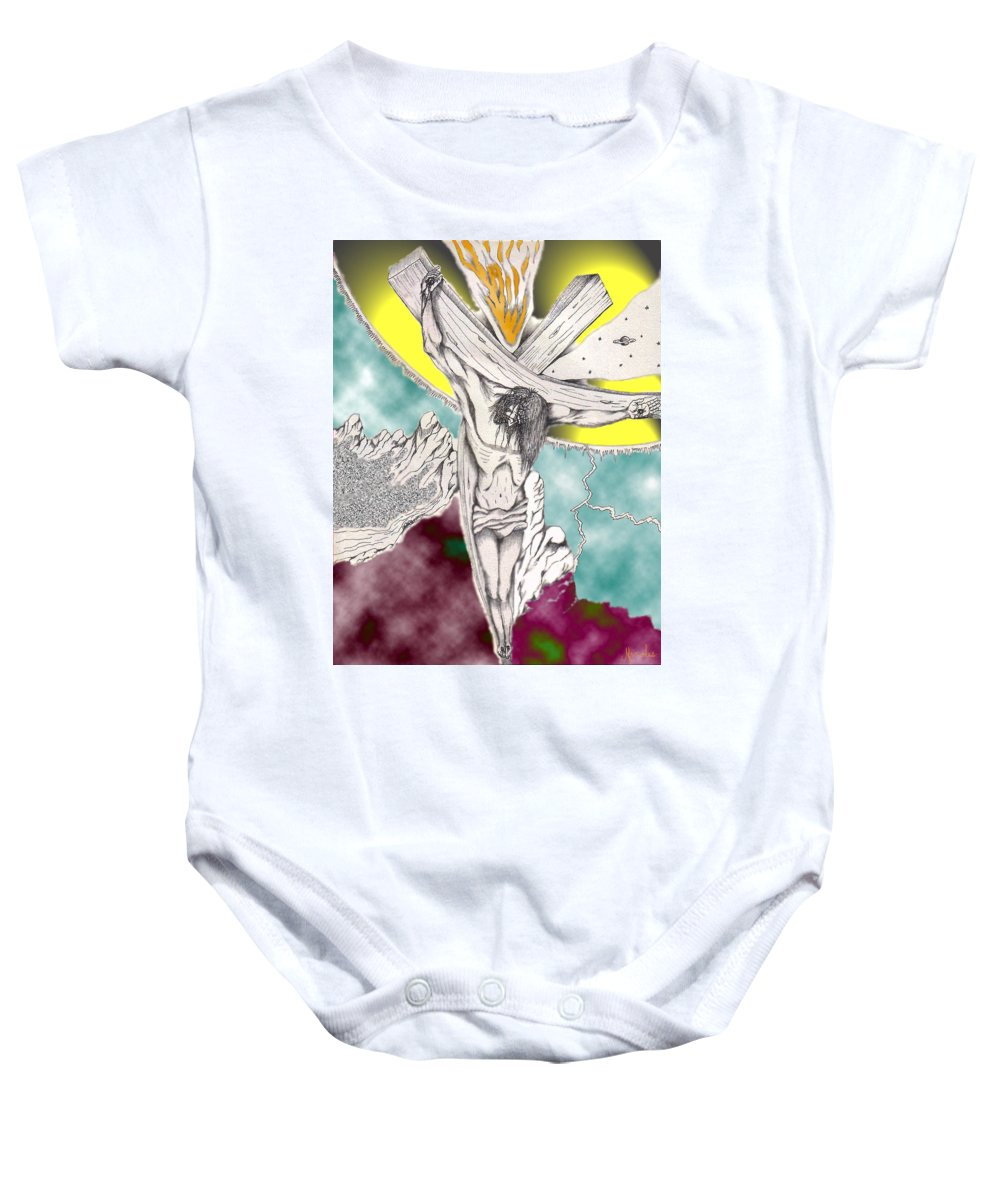 Spiritual Baby Onesie featuring the digital art Psalm 22 Ch 13-15... by Marco Morales