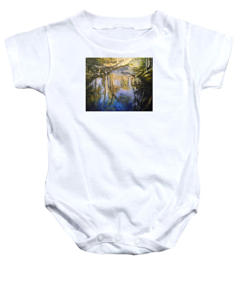 Puffers Pond Baby Onesie featuring the pastel Puffers Pond by Therese Legere