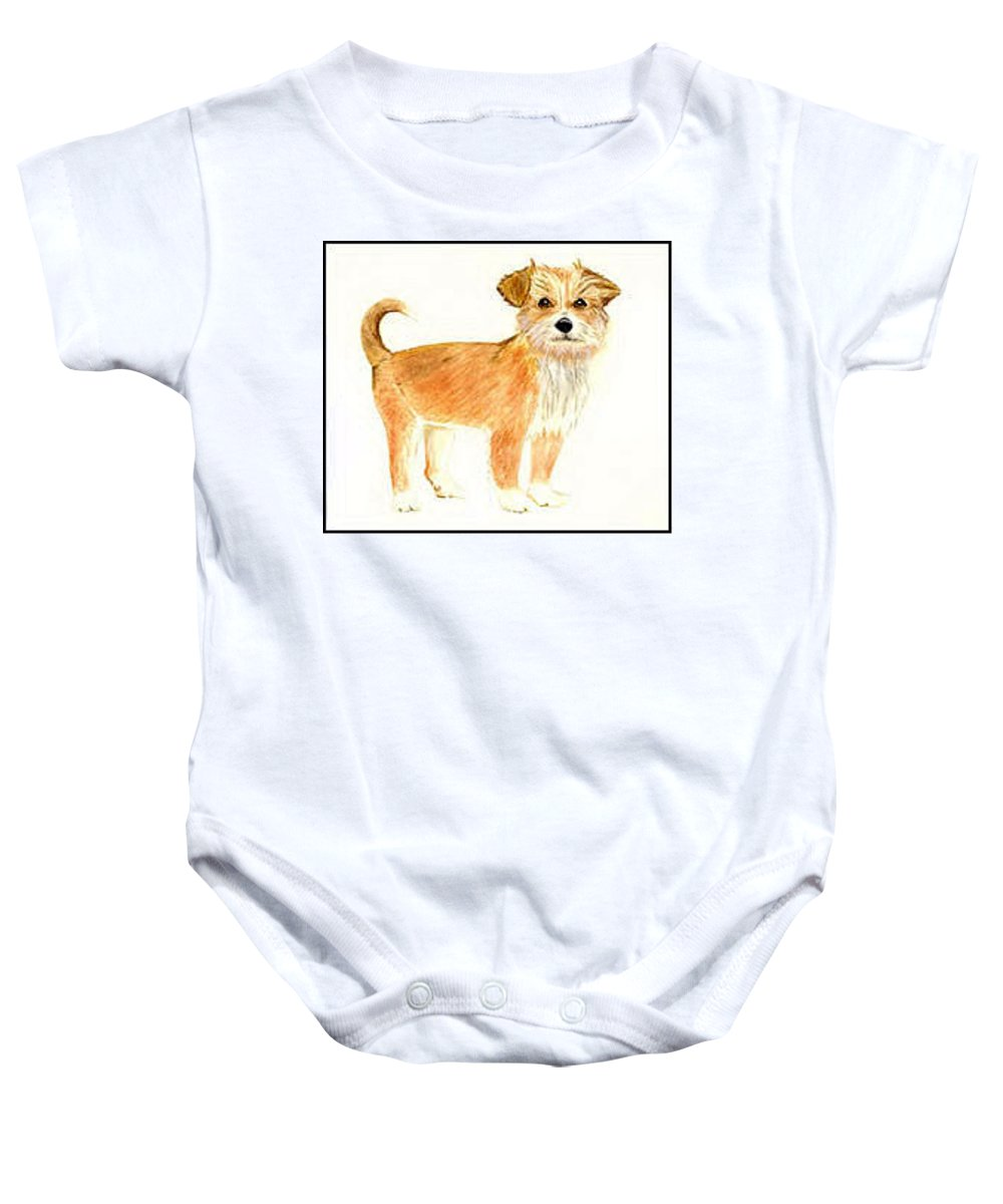 Dog Baby Onesie featuring the painting Puppy Dog  by Michael Vigliotti