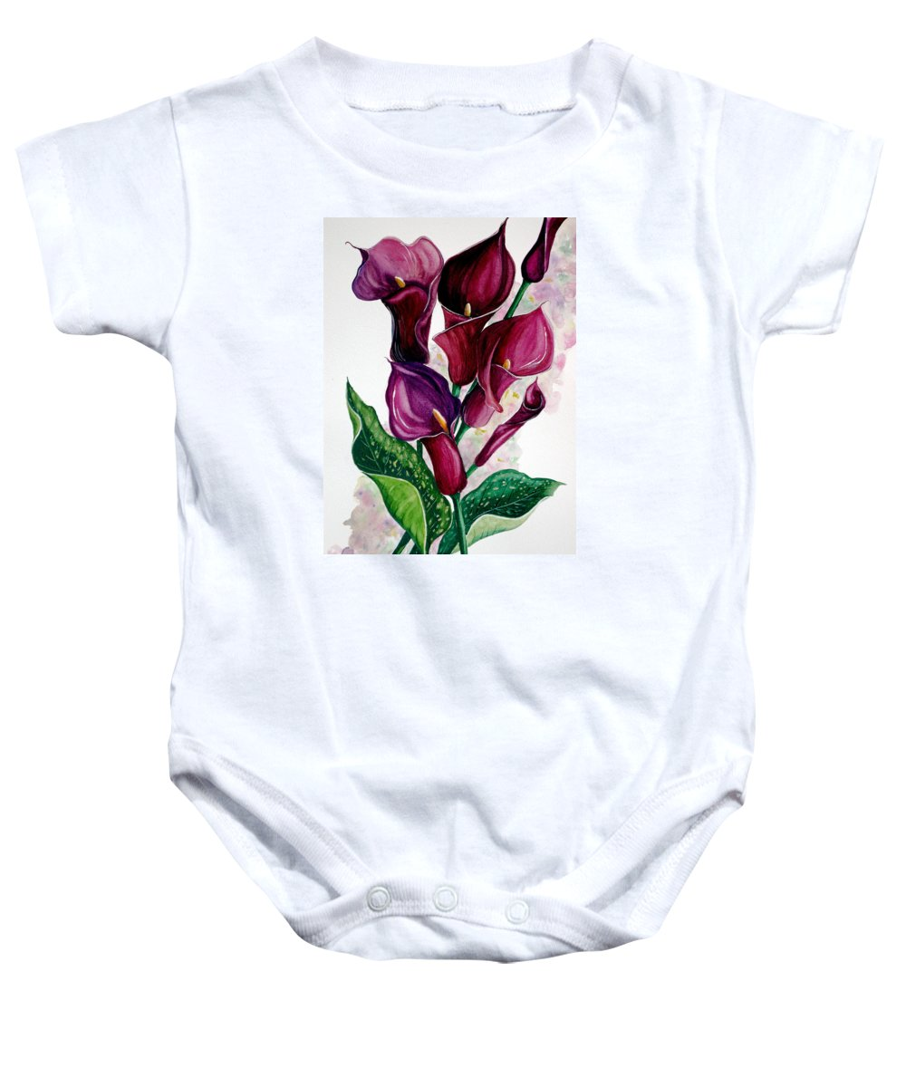 Purple Calla Painting Floral Painting Flower Painting Calla Lily Painting Lilies Painting Greeting Card Painting Botanical Painting Baby Onesie featuring the painting Purple Callas by Karin Dawn Kelshall- Best
