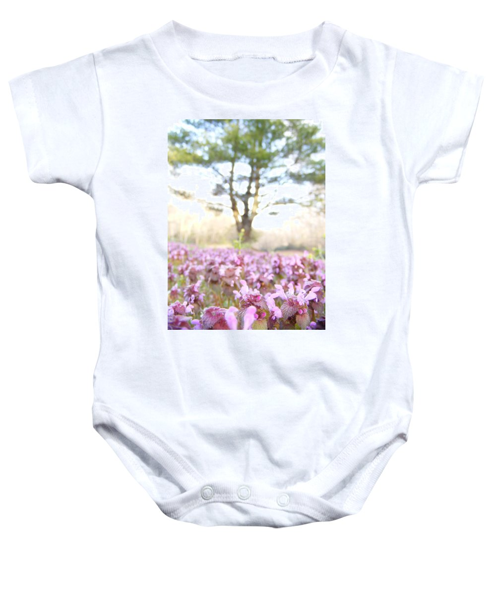 Prunella Vulgaris Baby Onesie featuring the photograph Purple Heal-all by Zen WildKitty
