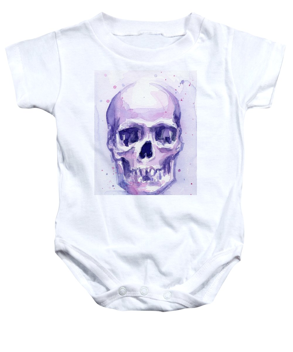 Purple Baby Onesie featuring the painting Purple Skull by Olga Shvartsur