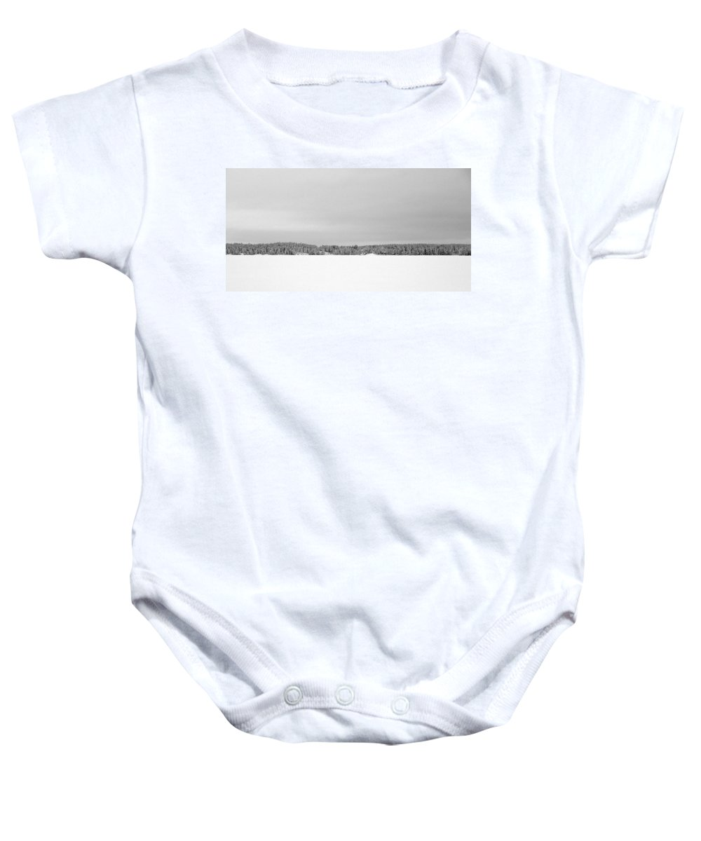 Lehtokukka Baby Onesie featuring the photograph Pyhajarvi Winter 2 by Jouko Lehto