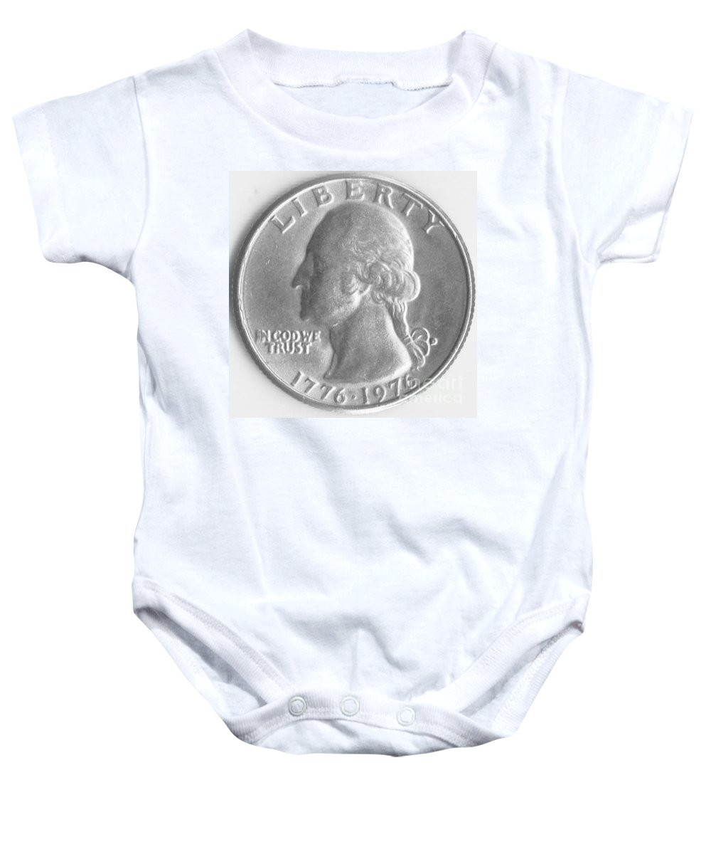 Round Baby Onesie featuring the mixed media Quarters Plaque by Timothy Wilkerson