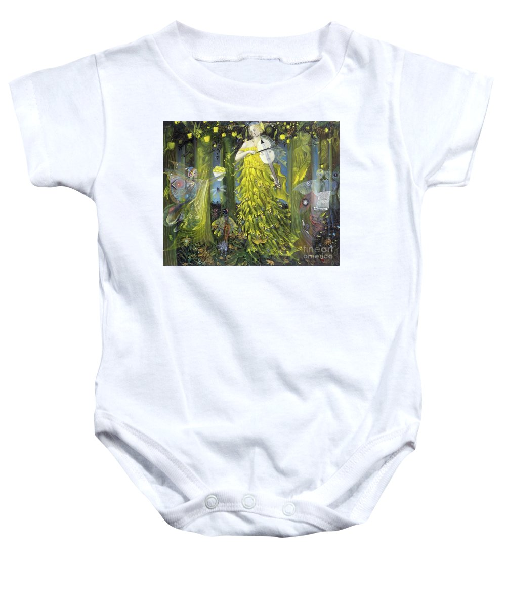 Queen;quinces;nature;forest;classical;music;musical;instrument;violin;sonata;viol;baroque;modern;romantic;reger;queen Of Quinces Baby Onesie featuring the painting Queen Of Quinces by Annael Anelia Pavlova