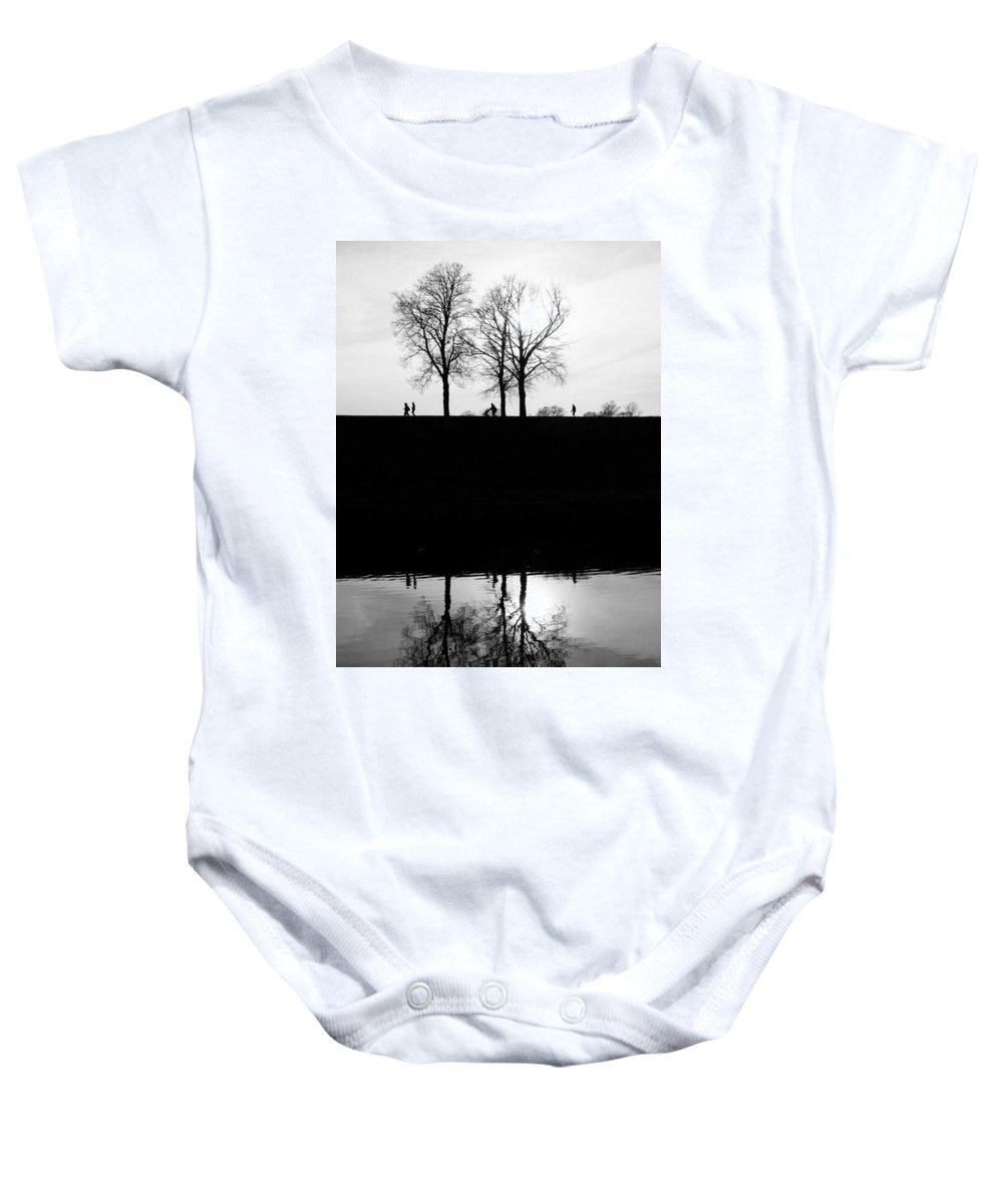 Black & White Baby Onesie featuring the photograph Quiet Day by Jai Cobino