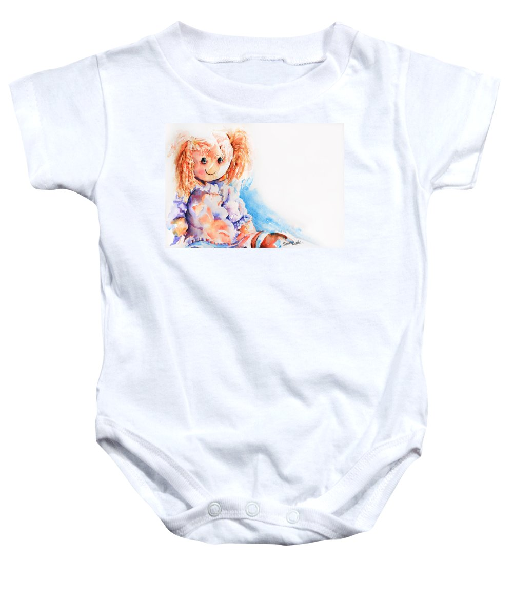 Stephie Butler Baby Onesie featuring the painting Raggedy Rosie by Stephie Butler