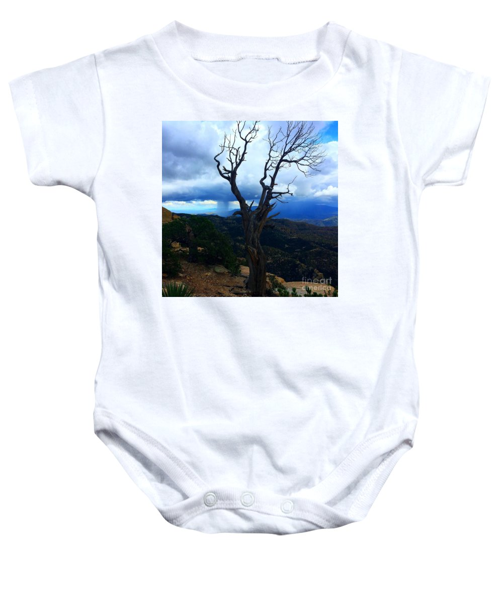 Marie Baby Onesie featuring the photograph Rain Column Tree by Marie Webb