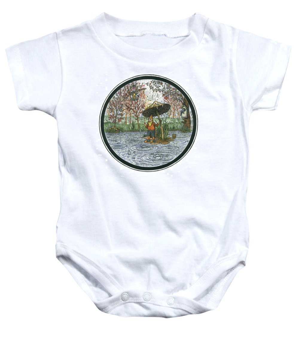 Rain Baby Onesie featuring the drawing Rain Gnome Rain Circle by Bill Perkins