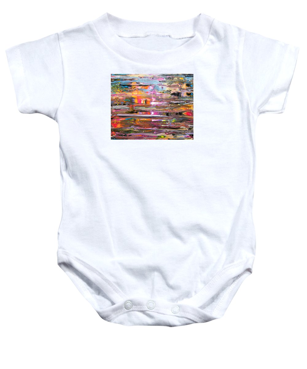 Vibrant Colorful Wet-looking Abstract Rain O A Window Pane Pink Orange Blue Yellow Black White Baby Onesie featuring the painting Rain on my window by Priscilla Batzell Expressionist Art Studio Gallery
