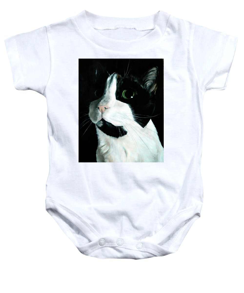 Cat Baby Onesie featuring the painting Rainbow Kitty by Becky Brooks