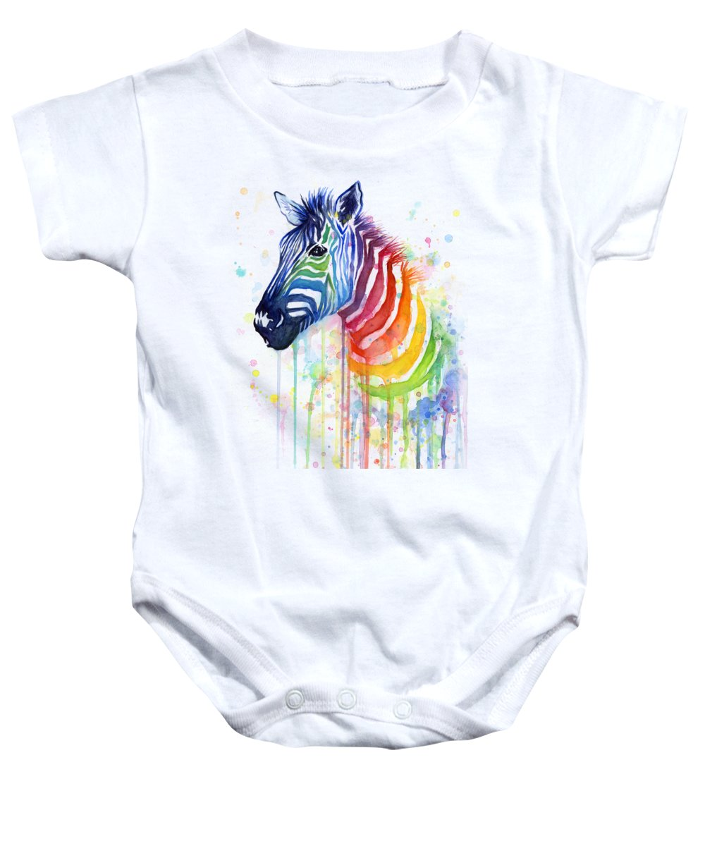 Rainbow Baby Onesie featuring the painting Rainbow Zebra - Ode to Fruit Stripes by Olga Shvartsur
