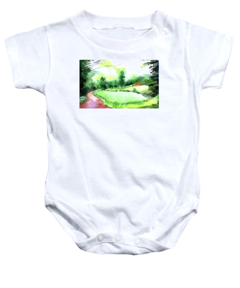 Landscape Baby Onesie featuring the painting Rains In West by Anil Nene