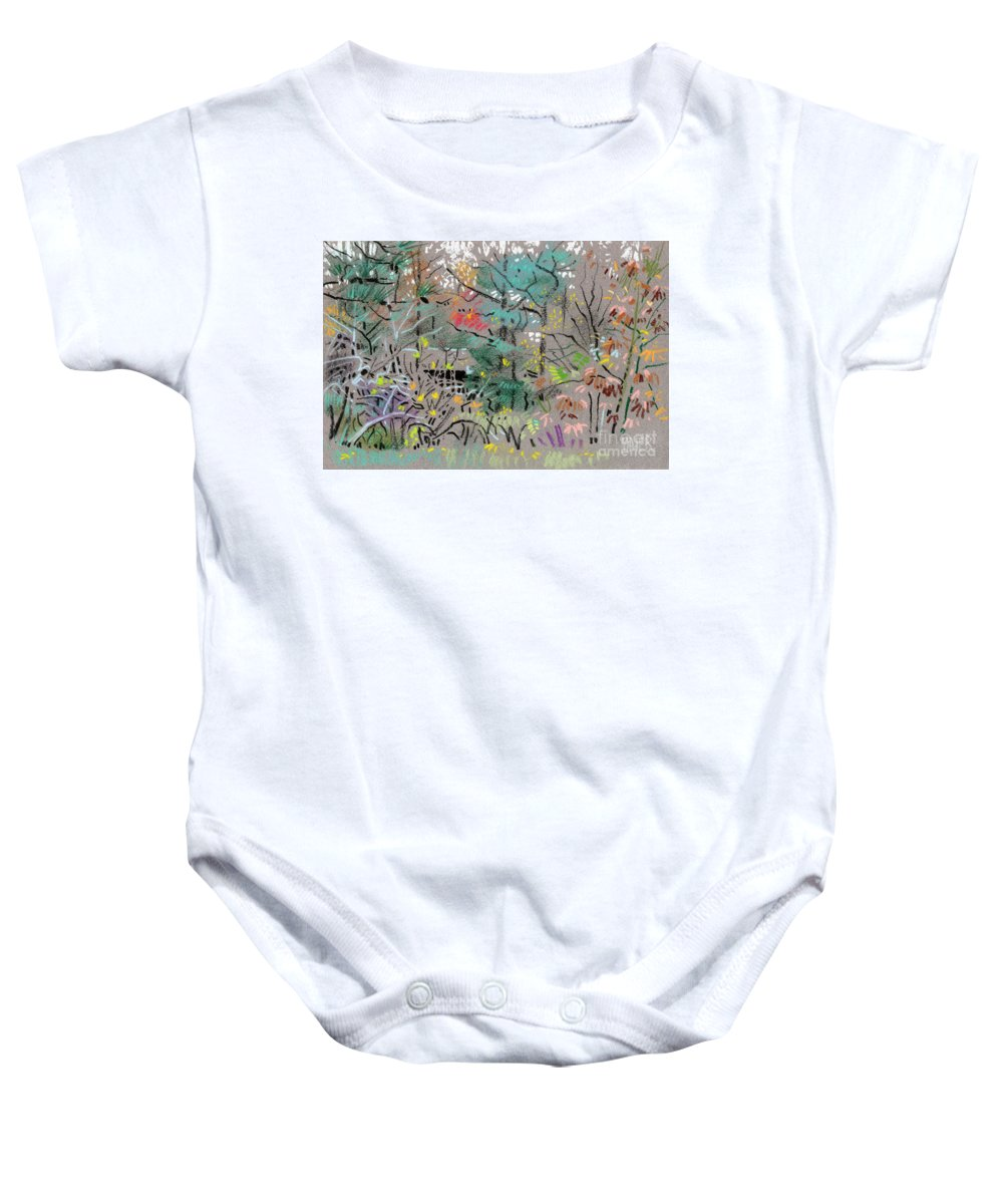 Plein Air Baby Onesie featuring the drawing Rainy Day In High Ridge by Donald Maier
