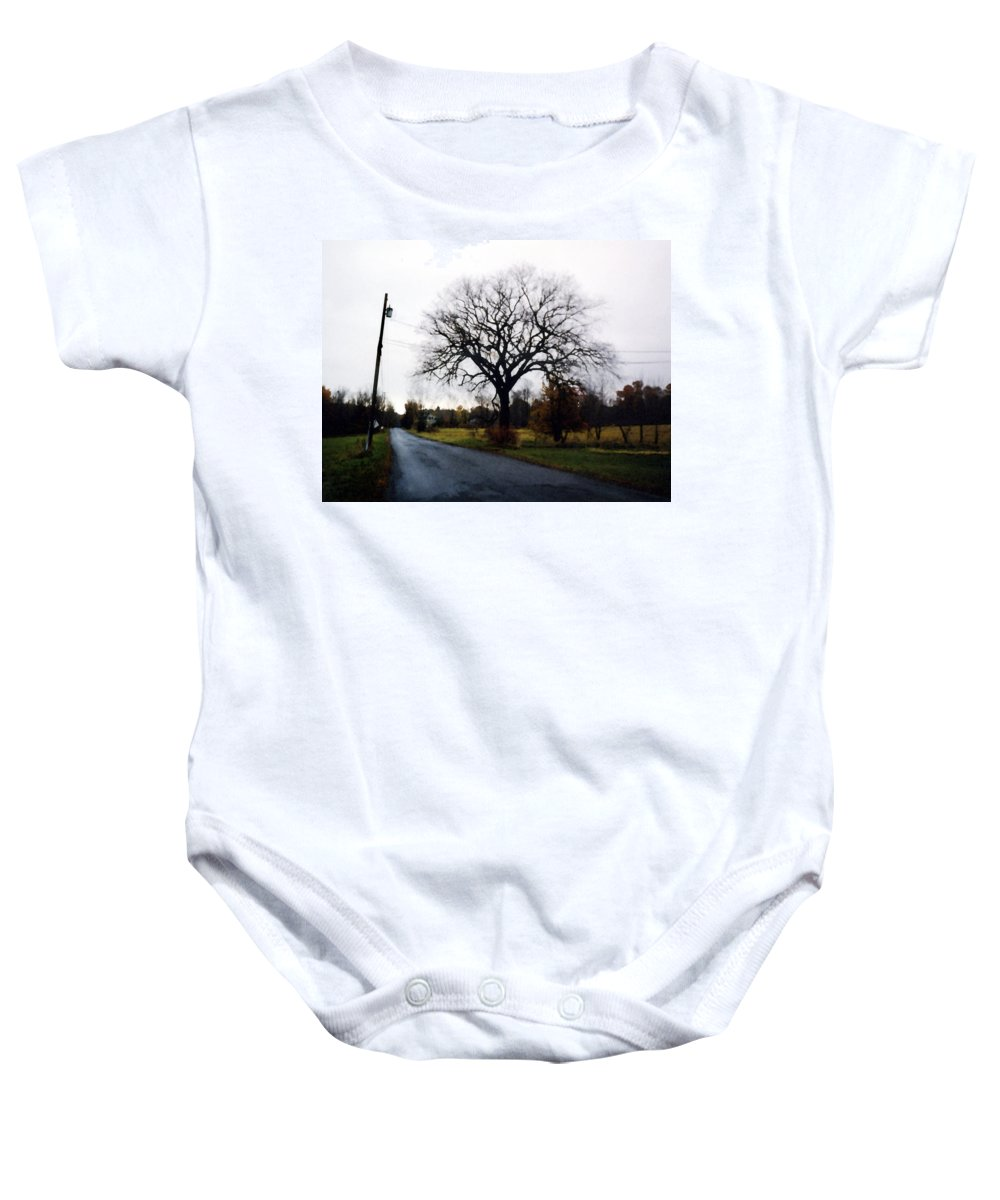Landscape Baby Onesie featuring the painting Rainy Day by Paul Sachtleben
