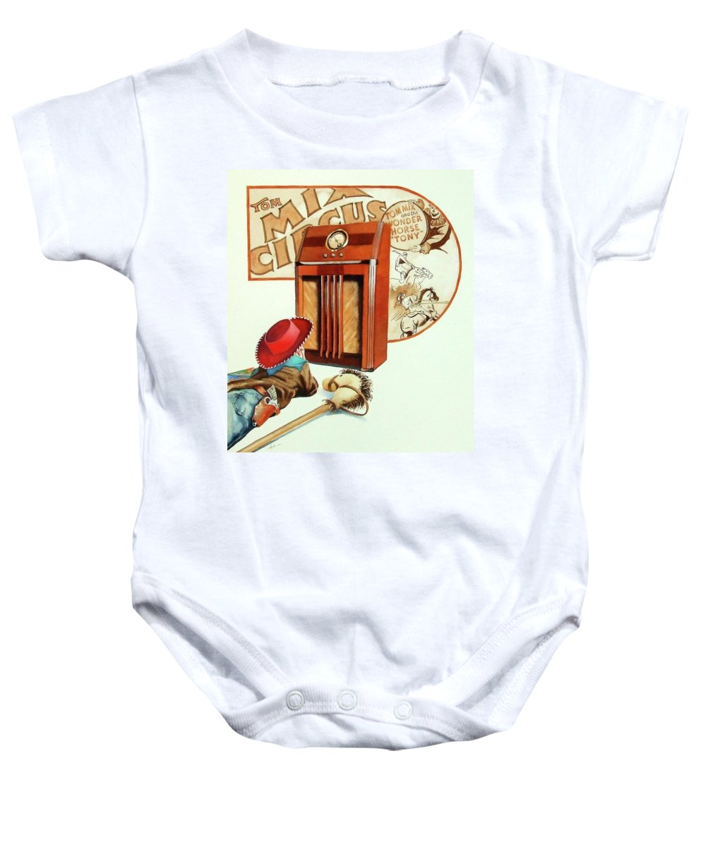 Radio Baby Onesie featuring the painting Raised On The Radio 2 by Greg and Linda Halom