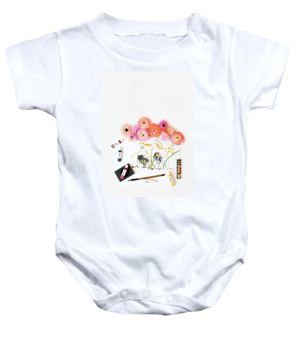 Watercolor Baby Onesie featuring the photograph Ranunculus With First Watercolor by Susan Gary
